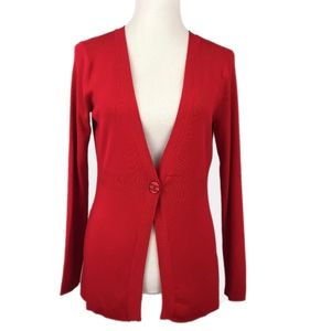 NEW YORK & COMPANY Red Stretch One-Button Cardigan